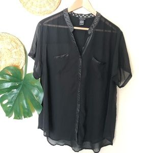 Torrid Black sheer studded blouse Size 2X